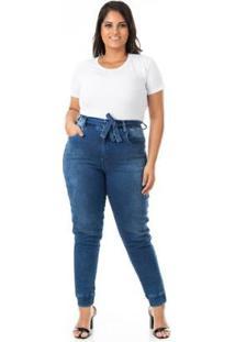 Calça Jeans Jogger Com Lycra Plus Size Confidencial Extra Feminina - Feminino-Azul