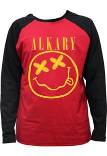 Camiseta Alkary Raglan Manga Longa Nirvana Vermelha E Preta
