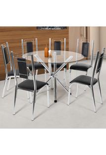 Conjunto De Mesa Com 6 Cadeiras - Bela - Ciplafe - Cromado / Preto