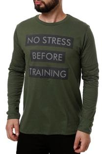 Camiseta Manga Longa Masculina No Stress Verde