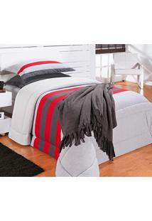 Kit Edredom (Edredom + Porta Travesseiro) Solteiro Coleção Viena Malha Penteada 30/1 Lisa C/ Detalhes Com 5 Peças - Bernadete Casa