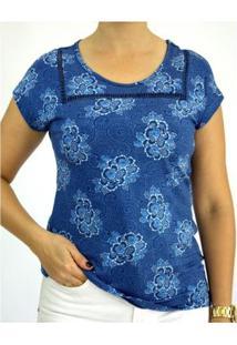 Blusa Pau A Pique Estampada Feminina - Feminino-Azul