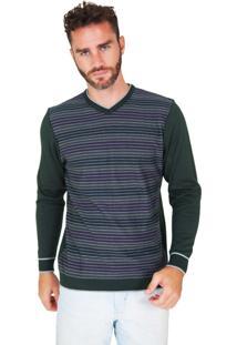 Suéter G'Dom Verde Frente Listrado Color