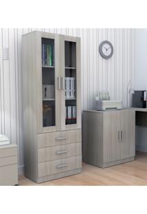 Armário Para Escritório Com Porta De Vidro E 3 Gavetas Bliv - Grigio - Multistock