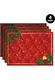 Jogo Americano Mdecore Natal 40X28Cm Vermelho 4Pçs
