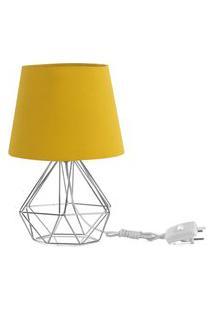 Abajur Diamante Dome Amarelo Mostarda Com Aramado Cromado