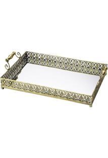 Bandeja De Ferro Com Espelho Ouro Velho Belle Epoque 3219 Lyor Classic
