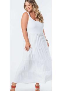 Vestido Almaria Plus Size Munny Longo Liso Camadas