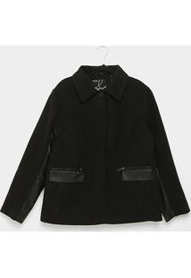 Jaqueta Queens Plus Size Lã Batida Feminina - Feminino-Preto