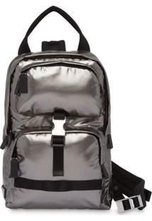 Prada Technical Fabric Metallic Backpack - Prateado