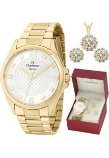 Kit Relógio Champion Feminino Elegance Com Colar E Brincos Cn27563W