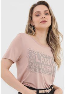 Camiseta Lanã§A Perfume Aplicaã§Ãµes Rosa - Rosa - Feminino - Viscose - Dafiti