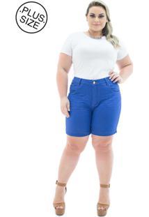 Shorts Jeans Missy Médio Com Lycra Plus Size - Tricae