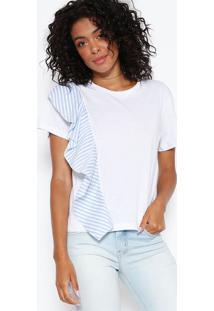 Camiseta Com Babado - Branca & Azul Claro - Sommersommer