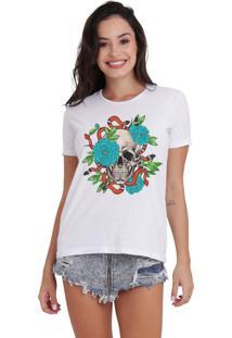 Camiseta Basica Joss Skull Snake Branca Dtg