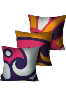 Kit Com 3 Capas Para Almofadas Pump Up Decorativas Roxo Abstrata 45X45Cm