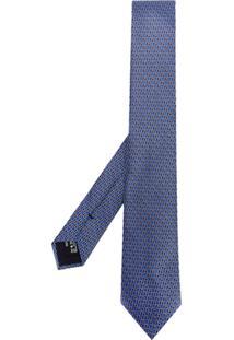 Giorgio Armani Gravata Com Logo Estampado - Azul