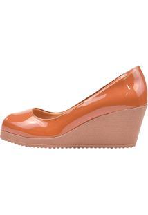 Sapato Eleganteria Scarpin Anabela Salto Médio Bico Aberto Marrom