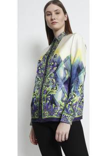 0f974d32fb ... Camisa Em Seda Arabescos - Verde Claro   Roxaversace Collection