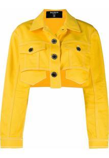 Balmain Jaqueta Jeans Cropped - Amarelo
