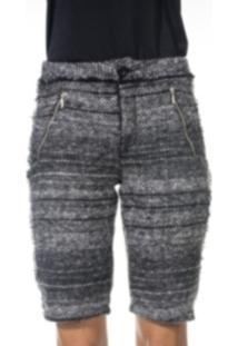 Bermuda Wool Line Tweed Cinza Mescla