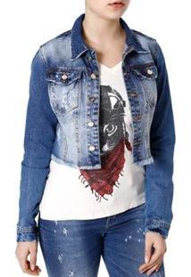 Jaqueta Jeans Naraka Feminina - Feminino-Azul