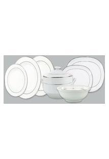Aparelho De Jantar Porcelana Schmidt 41 Peças - Dec. Renda Branca