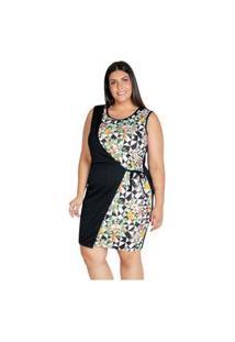 Vestido Marguerite Plus Size Curto Com Sobreposição Floral Preto