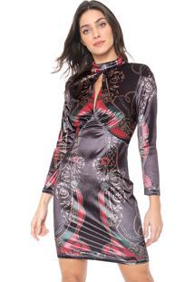 Vestido Lança Perfume Curto Veludo Preto/Vermelho