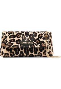Tom Ford Bolsa Tiracolo Label Pquena Com Estampa De Leopardo - Preto
