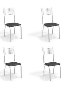 Conjunto Com 4 Cadeiras De Cozinha Munique Cromado E Preto