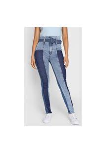 Calça Jeans Lança Perfume Skinny Pespontos Azul