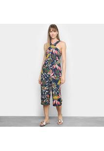 Macacão Lily Fashion Frente Única Tropical Feminino - Feminino-Marinho
