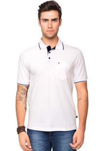 Camisa Polo Piquet Tony Menswear Com Bolso Modelagem Ampla Branca
