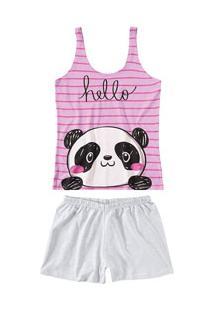 Pijama Curto Regata Panda Malwee Liberta (1000059799) Rosa - Algodão