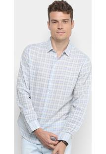 Camisa Xadrez Forum Smart Masculina - Masculino-Azul+Branco
