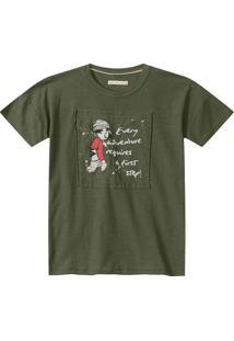 Camiseta Manga Curta Com Recortes- Verde Militar & Vermelilica Ripilica E Tigor T. Tigre