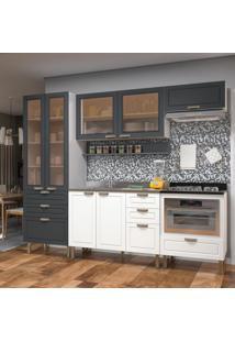 Cozinha Completa 7 Peças Americana Multimóveis 5675Mf Branco/Grafite