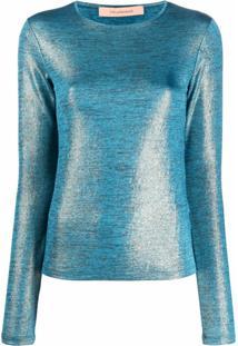 Andamane Blusa Com Efeito Metálico - Azul