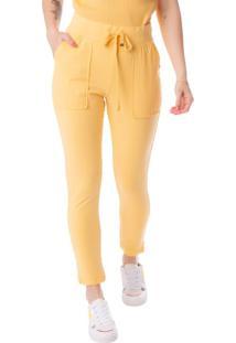 Calça Jogger Feminina Biamar Em Moletinho Amarelo - P