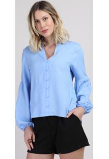 Blusa Feminina Maquinetada Com Botões Manga Longa Decote V Azul Claro