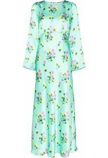 Bernadette Vestido Jane De Seda Com Estampa Floral - Verde