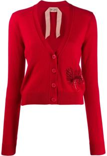 Nº21 Cardigan Com Paetês - Vermelho