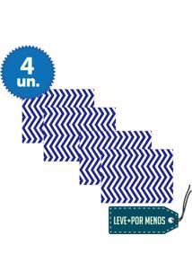 Jogo Americano 4 Peças Em Mdf Articulado Zig Zag Azul E Branco - Cia Laser