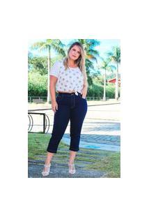 Calça Capri Almaria Plus Size Fact Jeans Azul