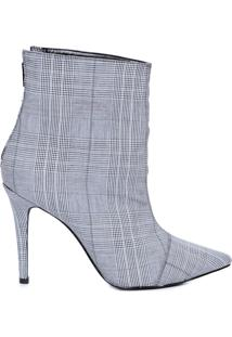 Ankle Boot Em Tecido - Cinza