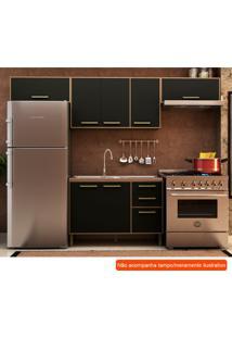 Cozinha Compacta Vitória Ii 7 Pt 3 Gv Preta E Avelã