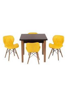 Conjunto Mesa De Jantar Luiza 80Cm Preta Com 4 Cadeiras Slim - Amarelo