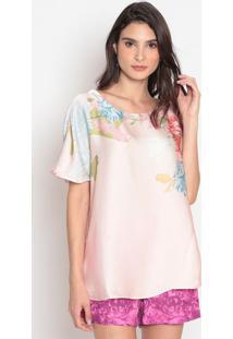 Blusa Acetinada Floral - Rosa Claro & Verde- Cotton Cotton Colors Extra
