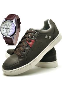 Sapatênis Sapato Casual Com Relógio Juilli Com Cadarço Masculino 05L Café Marrom